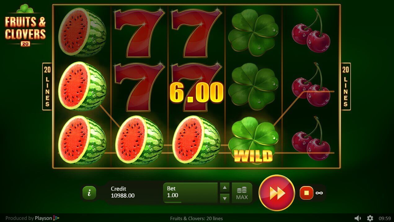 Fruits and Clovers: 20 Lines slots UK