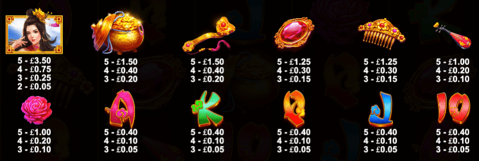Golden Beauty Slot Symbols