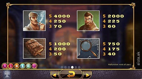 Holmes and the Stolen Stones Slot paytable info