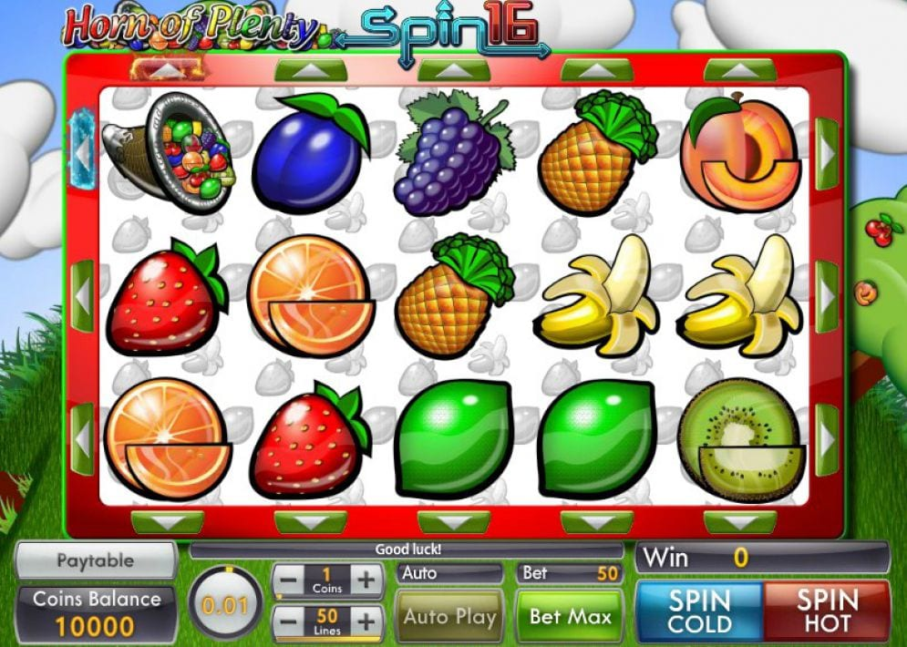 horn of plenty spin 16 game play
