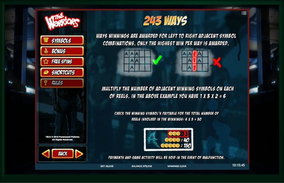 The Warriors Slots Game
