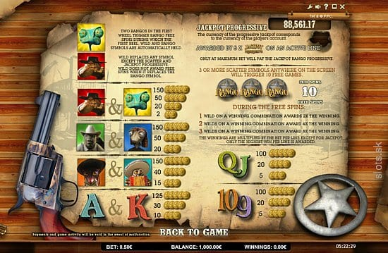 Jackpot Rango online slots game paytable info