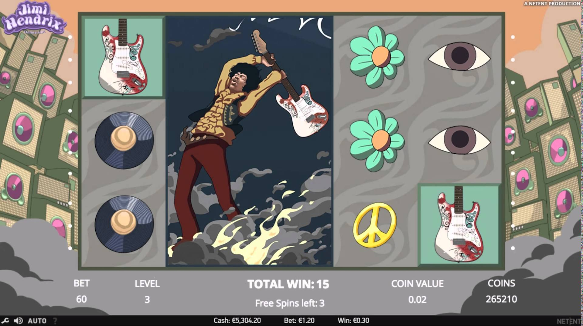 jimi hendrix slots gameplay