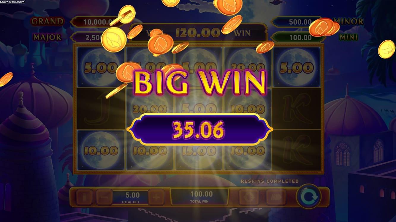 Jinns Moon Fire Blaze Jackpots Slot Big Win