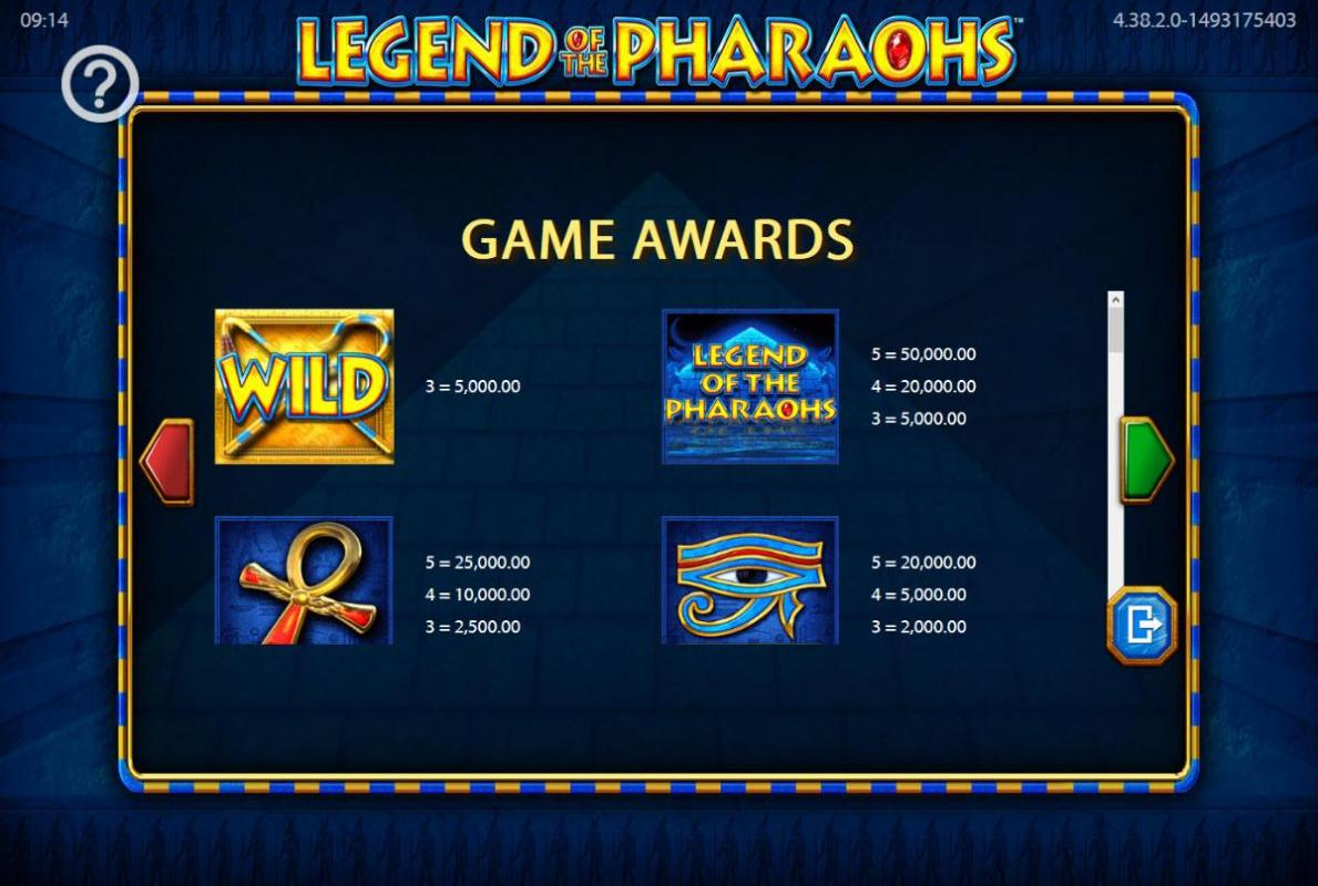 legend of the pharaohs game awards