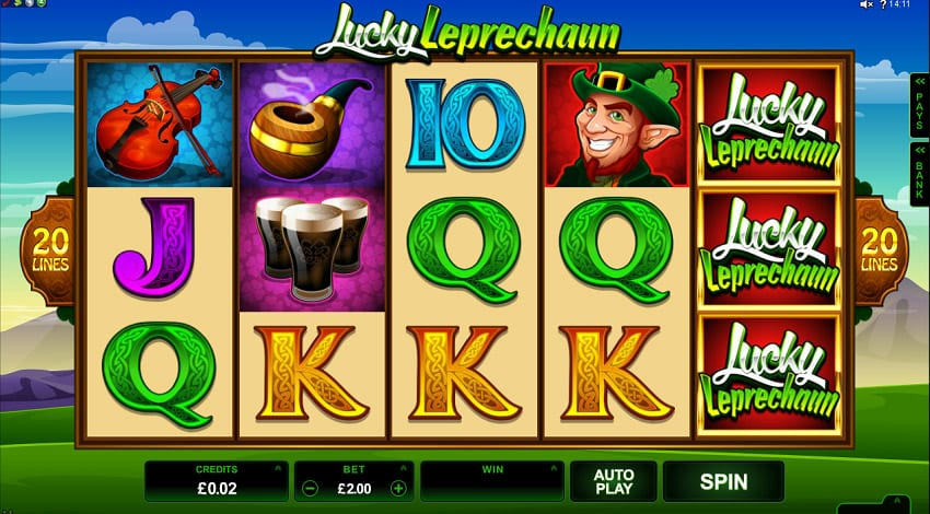 Lucky Leprechaun online slots game logo