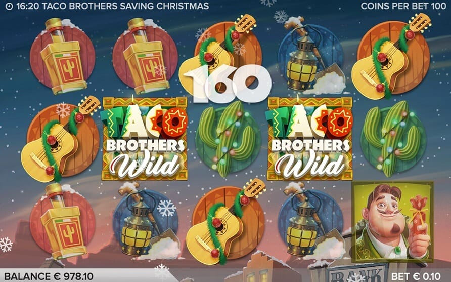 Taco Brothers Saving Christmas online slots game logo