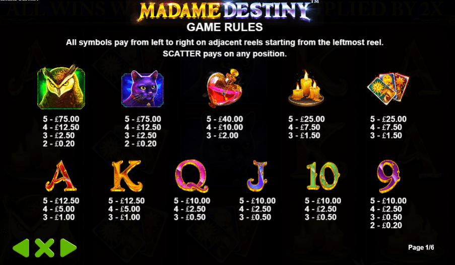 Madame Destiny Symbols