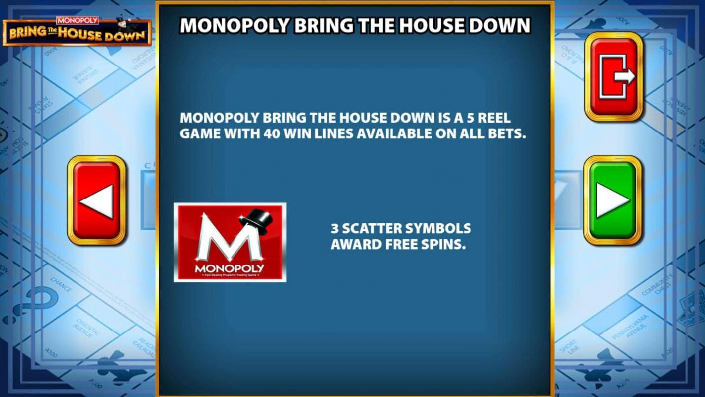 monopoly bring the house down free spins