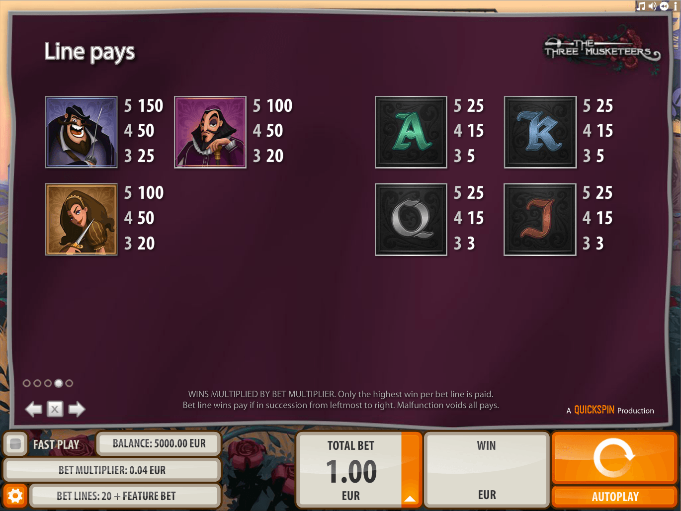 musketeer slot paylines