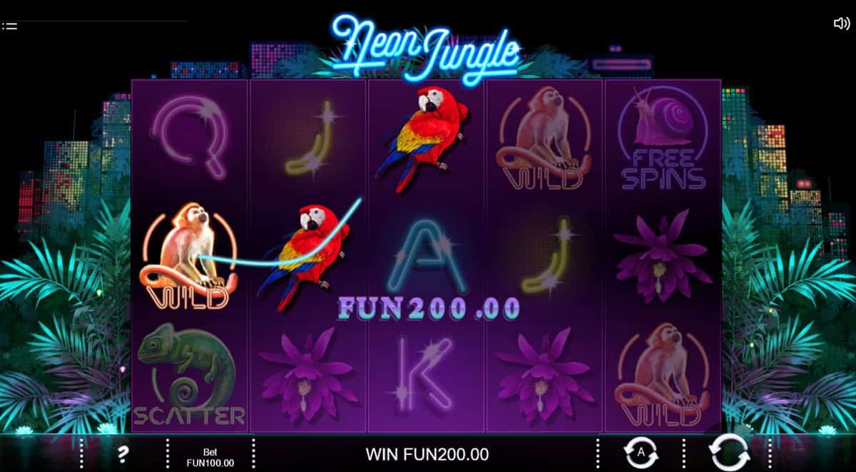 Neon Jungle slots game gameplay