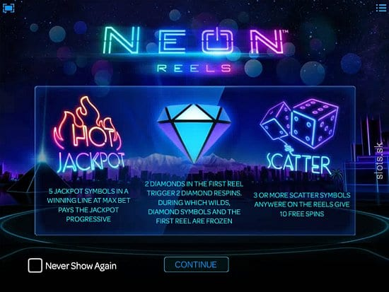 Neon Reels online slots game paytable info
