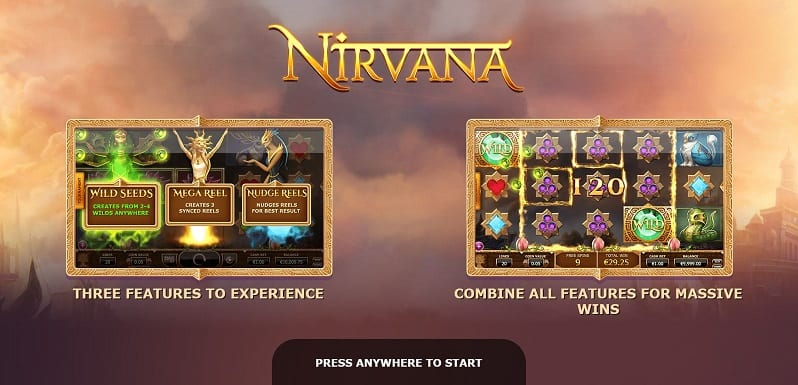 Nirvana online slots game paytable