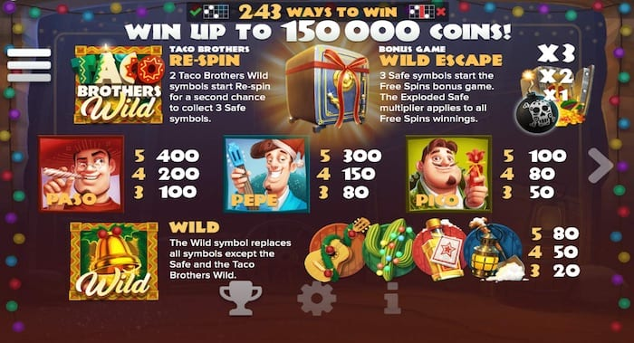 Taco Brothers Saving Christmas Online slots game paytable