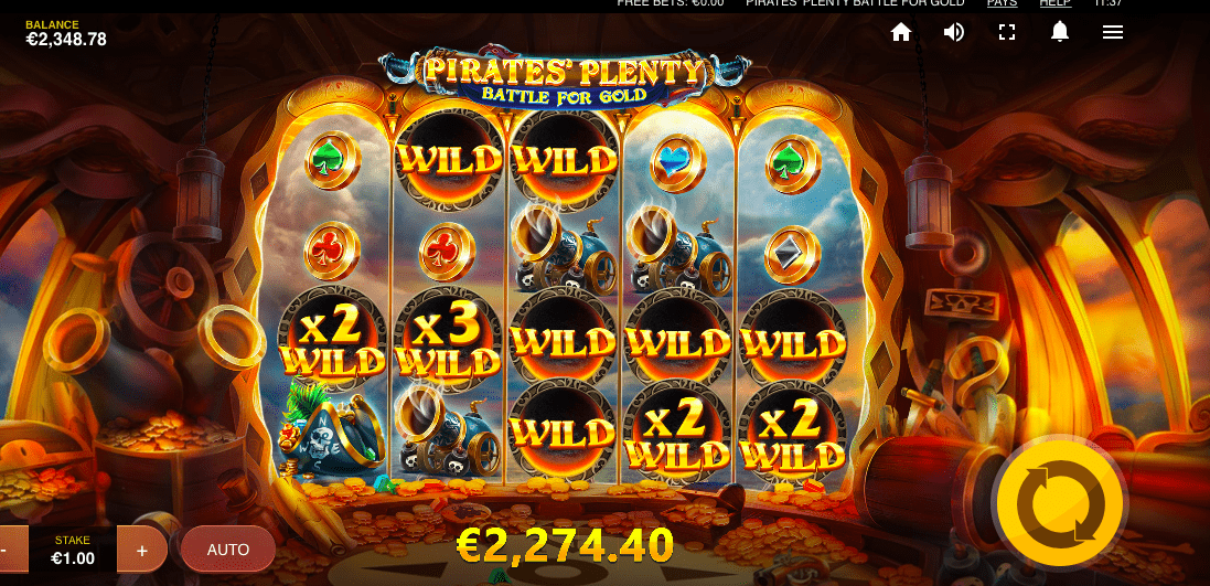 Pirates Plenty Battle for Gold slot gameplay
