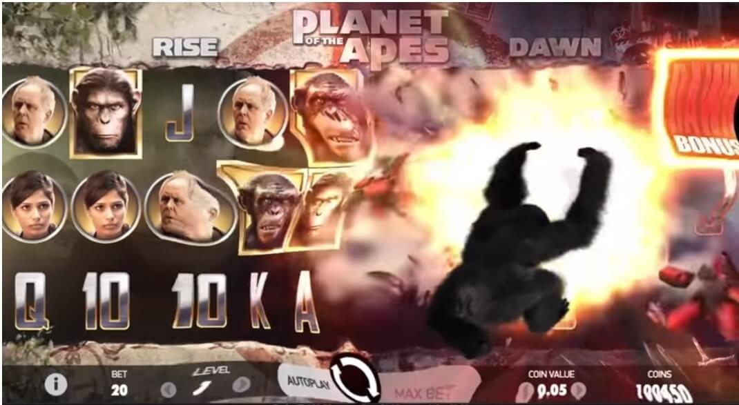 Planet of the Apes online slots ape feature info