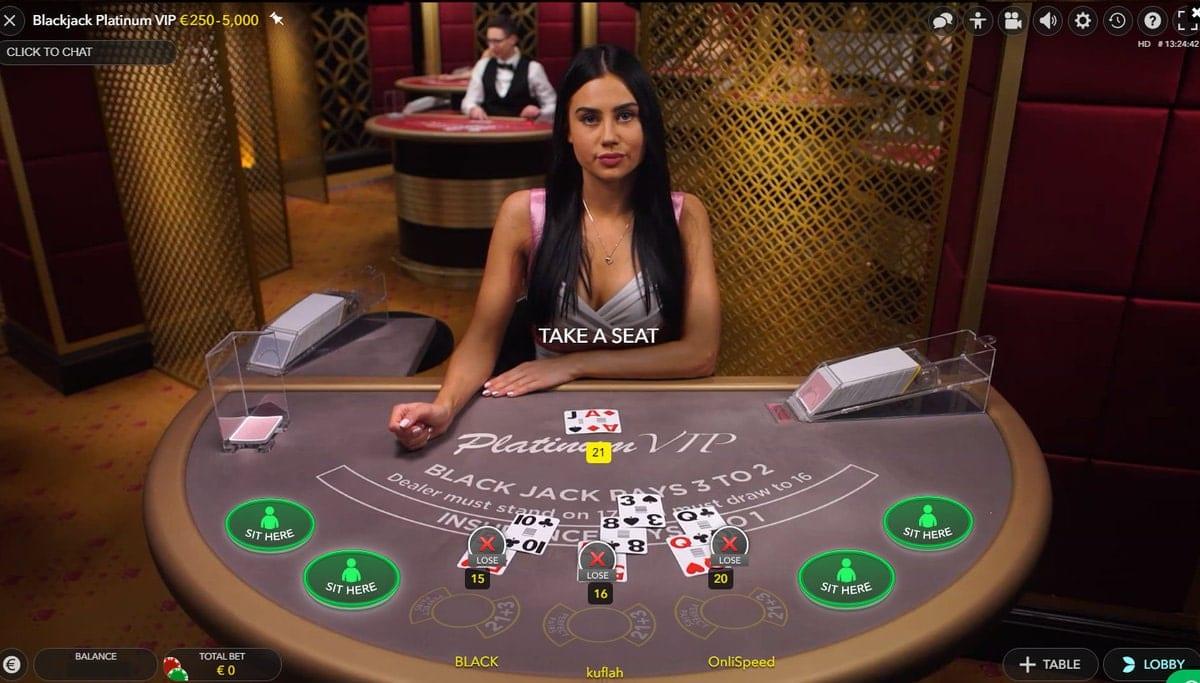 Platinum Blackjack Live Game