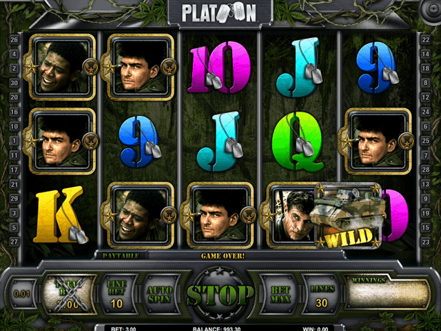 Platoon slot game reel