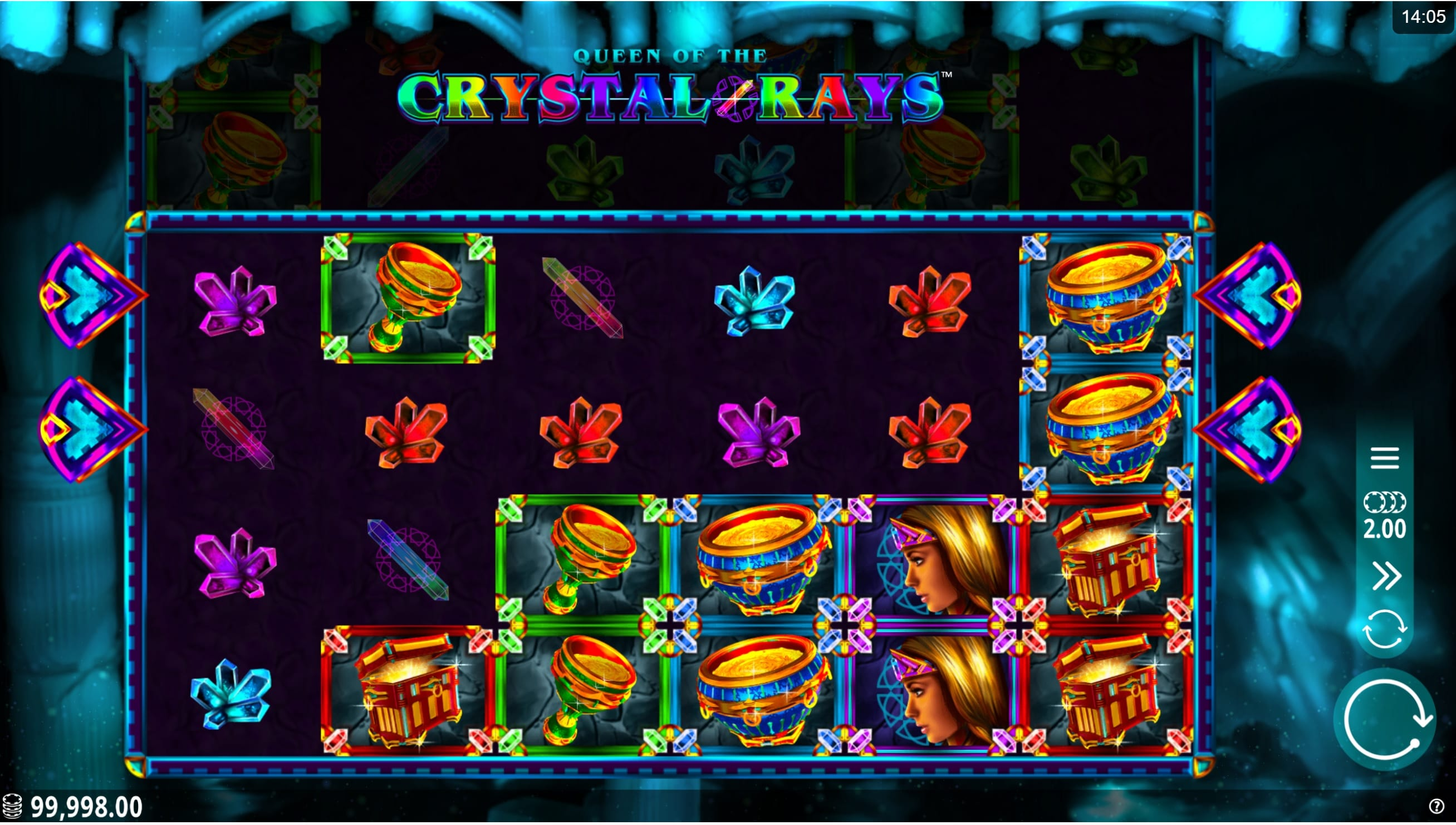 Queen of the Crystal Rays Casino gameplay