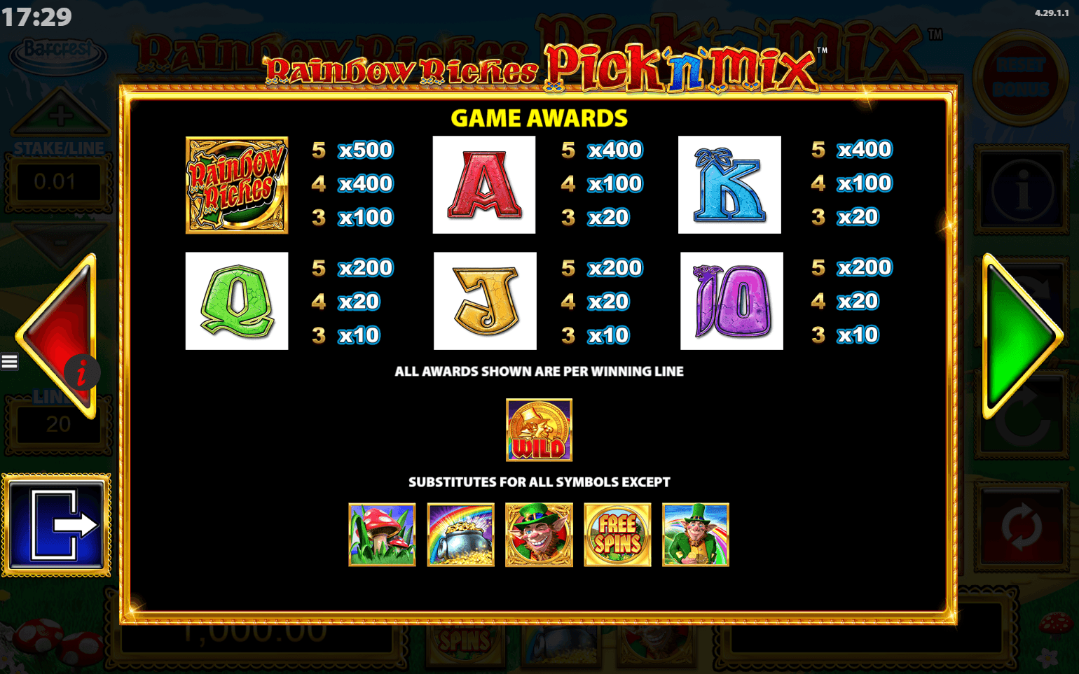 rainbow riches pick n mix game awards