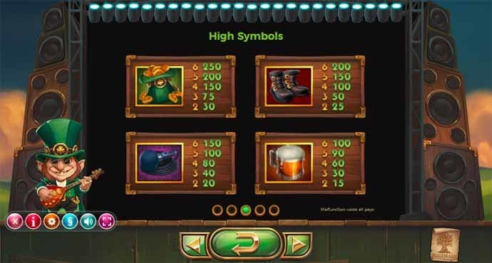 Rainbow Ryan online slots game paytable