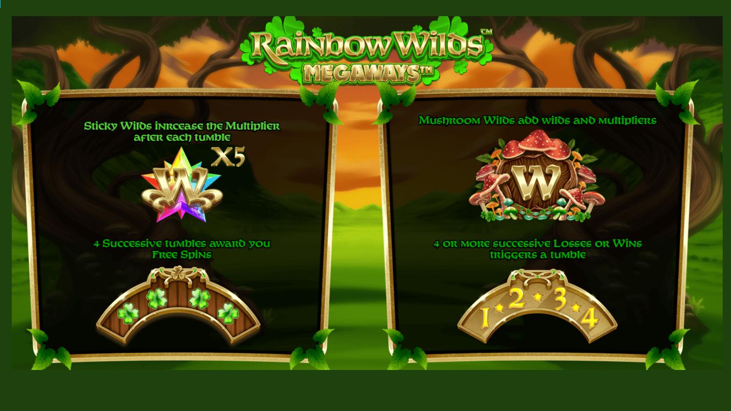 Rainbow Wilds Megaways Slots Bonus Features