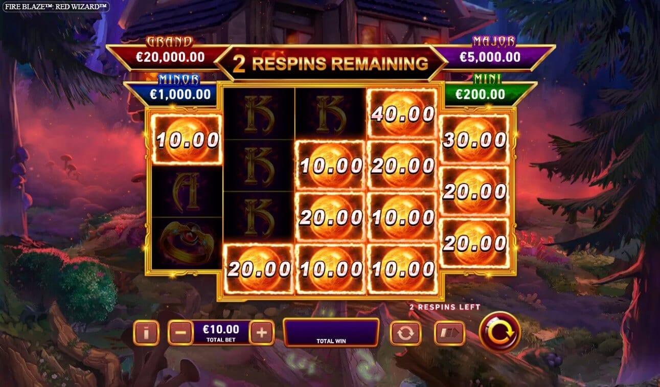Red Wizard Fire Blaze Slots Reels