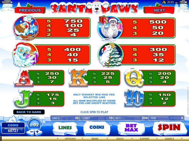 Santa Paws Slot Symbols