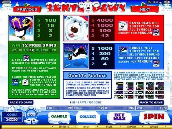 Santa Paws paytable