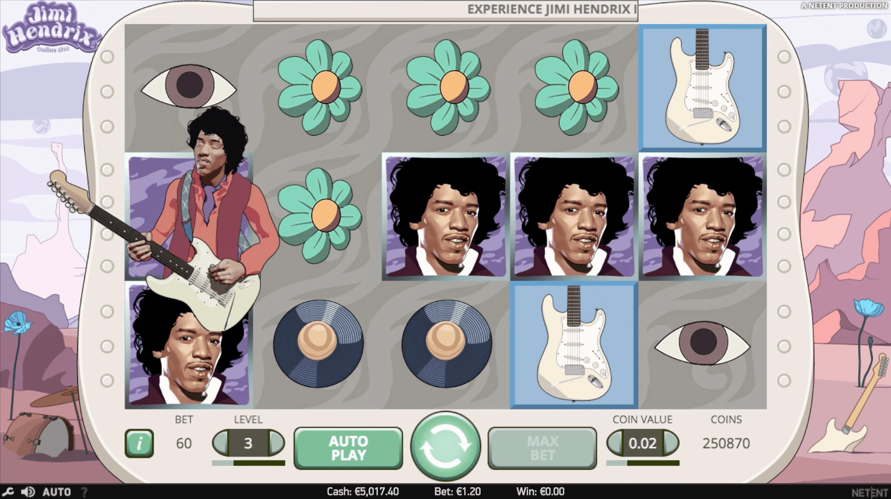 Jimi Hendrix online slots game gameplay