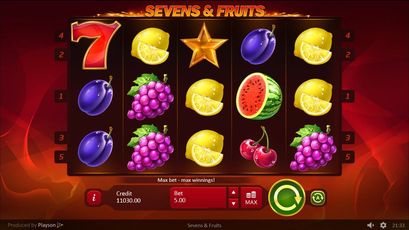 sevens & fruits gameplay
