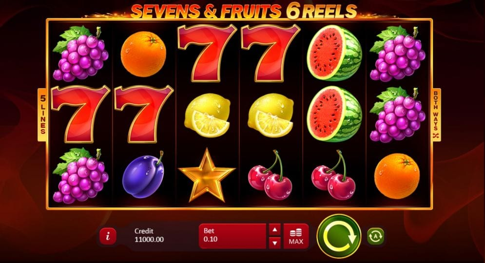 Sevens & Fruits 6 Reels Slot Gameplay