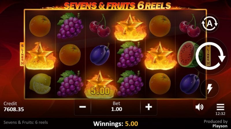 Sevens & Fruits 6 Reels Slot Wins