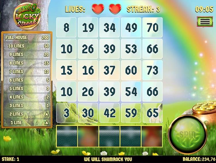 Slingo Lucky Streak Slots Game