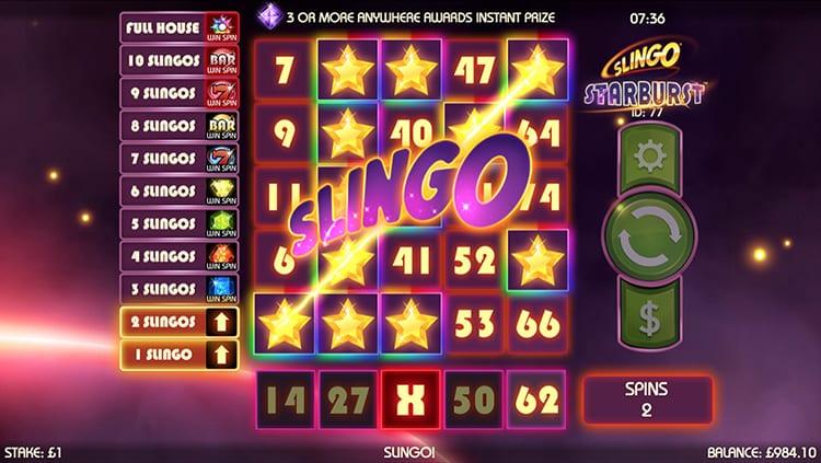 Slingo Starburst Slot Big Win