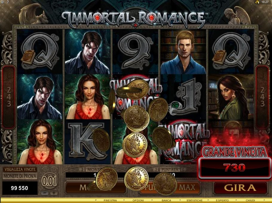 Immortal Romance slots gameplay