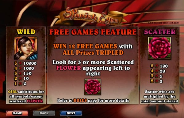 Spanish Eyes Free games feature