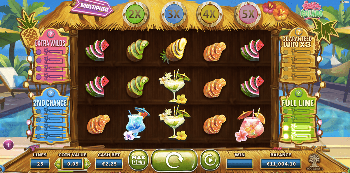 Spina Colada online slots game gameplay