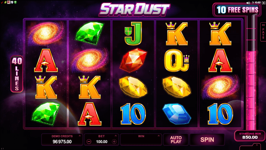 Stardust online slots game gameplay