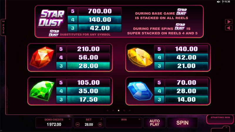 Stardust online slots game paytable info