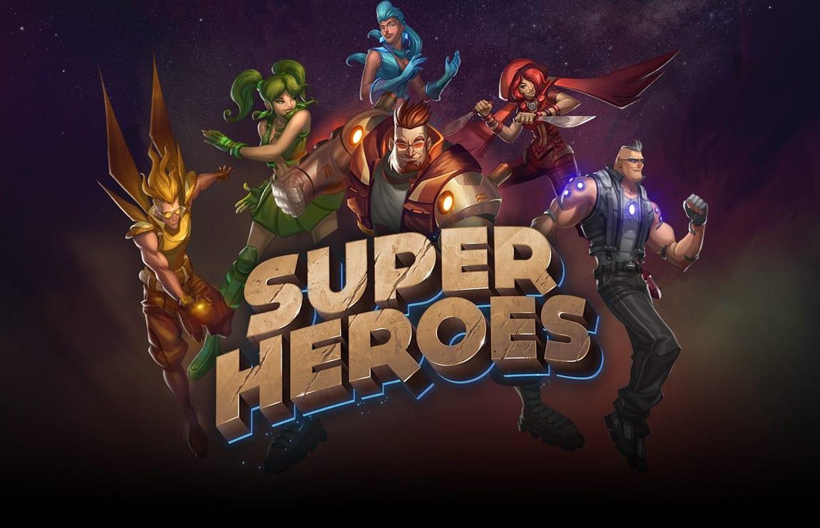 Super Heroes online slots game logo