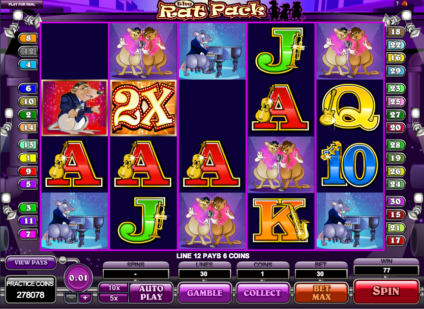 The Rat Pack online slots game screen