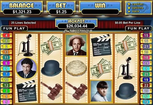 Three Stooges slots gameplay