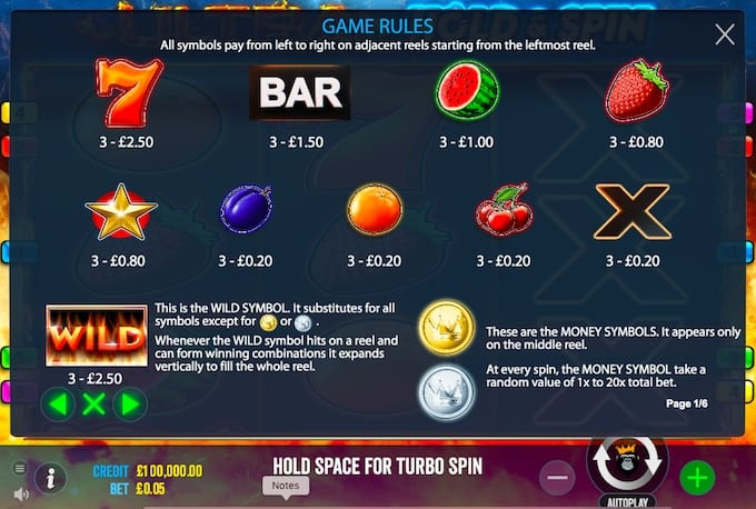 Play Ultra Hold and Spins Slot Symbols