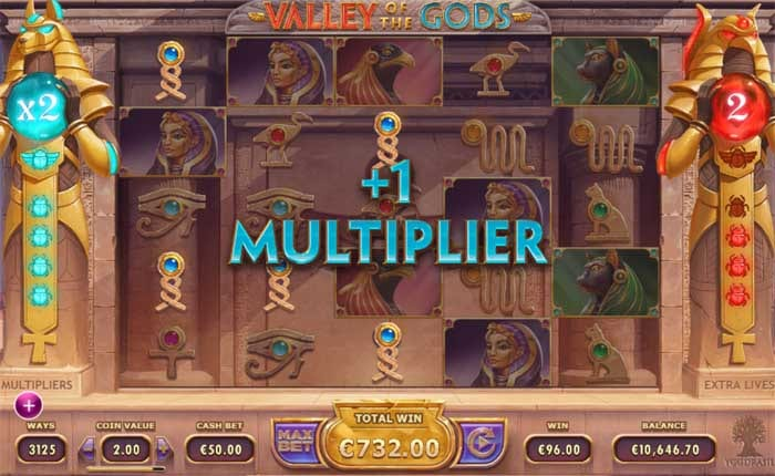 Valley of the Gods online slots game paytable