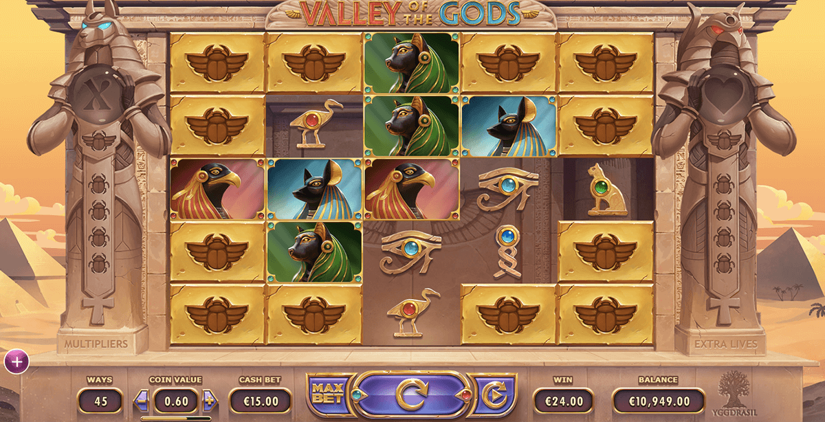 Valley of the Gods online slots game gameplay