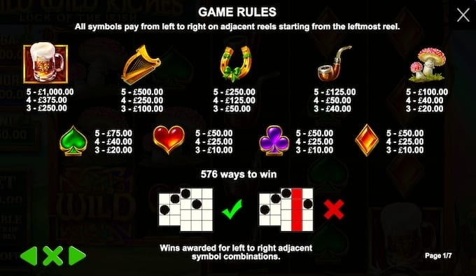 Wild Wild Riches Slots Paytable