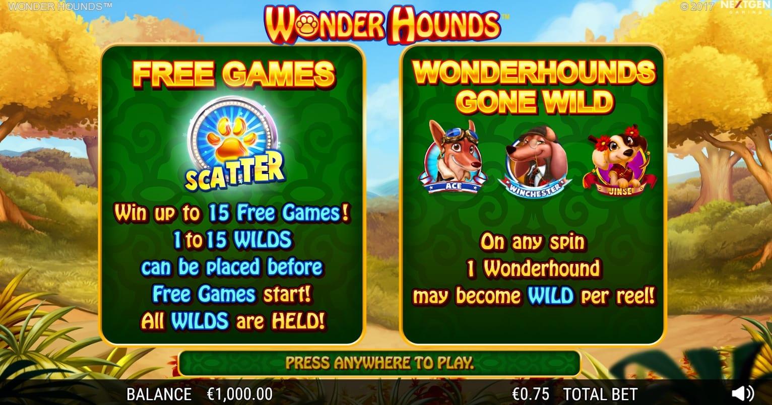 Wonder Hounds paytable