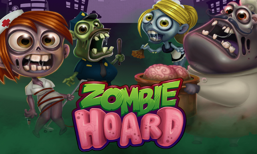 Four zombies, one a nurse, a policeman, maid and chef behind the Zombie Hoard text logo